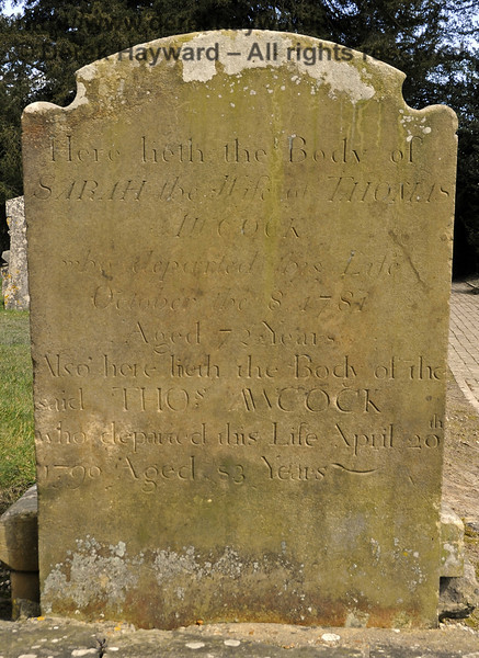 "One of the gravestones relating to the Awcock family in the churchyard:<br /> <br /> ""Here lieth the Body of Sarah, the wife of Thomas Awcock, who departed this Life October the 8 1781, Aged 72 Years.<br /> <br /> Also here lieth the Body of the said Thomas Awcock who departed this Life April 20th 1790 Aged 83 Years.""<br /> <br /> St Giles Church, Horsted Keynes 06.04.2013  6664"