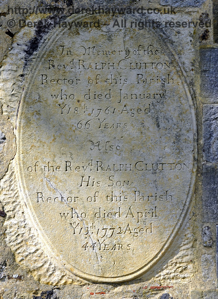 "A memorial on the outside southern wall of the church:<br /> <br /> ""In memory of the Rev Ralph Clutton, Rector of this Parish, who died January 18th 1761, Aged 66 Years.<br /> Also of the Rev Ralph Clutton, His Son, Rector of this Parish, who died April 13th 1772, Aged 44 Years.""<br /> <br /> St Giles Church, Horsted Keynes.  06.04.2013  8641"