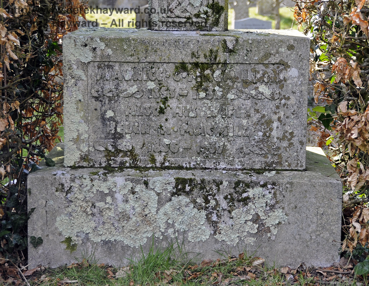 "The Macmillan Family Plot, St Giles Church, Horsted Keynes.  06.04.2013  6610<br /> <br /> ""Maurice C Macmillan<br /> 1853 - 1936<br /> Also his wife<br /> Helen A Macmillan<br /> 1856 - 1937""<br /> <br /> This is:<br /> Maurice Crawford Macmillan (Publisher)<br /> and his wife:<br /> Helen (Nellie) Artie Tarleton Macmillan (formerly) Belles, artist and socialite, from Spencer, Indiana, USA."