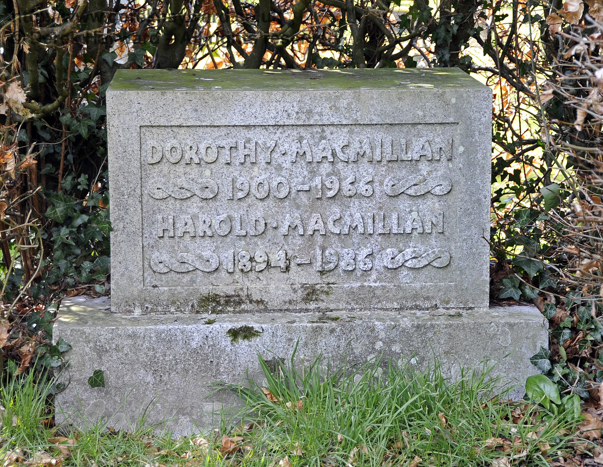 "The Macmillan Family Plot, St Giles Church, Horsted Keynes.  06.04.2013  6608<br /> <br /> ""Dorothy Macmillan<br /> 1900 - 1966<br /> Harold Macmillan<br /> 1894 - 1986""<br /> <br /> This is:<br /> Maurice Harold Macmillan, 1st Earl of Stockton, OM, PC, FRS, Conservative Prime Minister of the United Kingdom from 10 January 1957 to 18 October 1963<br /> and his wife:<br /> Lady Dorothy Macmillan GBE (formerly) Cavendish, the daughter of the 9th Duke of Devonshire."