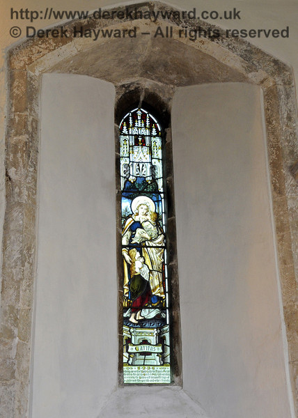 "A memorial window.  The inscription is not totally clear but is believed to say:<br /> ""In loving memory of Lucy Catherine Frances Forster [records show aged 65] who died in this parish March 1st 1903.  This window is erected by the [unclear] self denial offerings of the children of this parish and other friends"".  <br /> <br /> St Giles Church, Horsted Keynes 06.04.2013  6642"