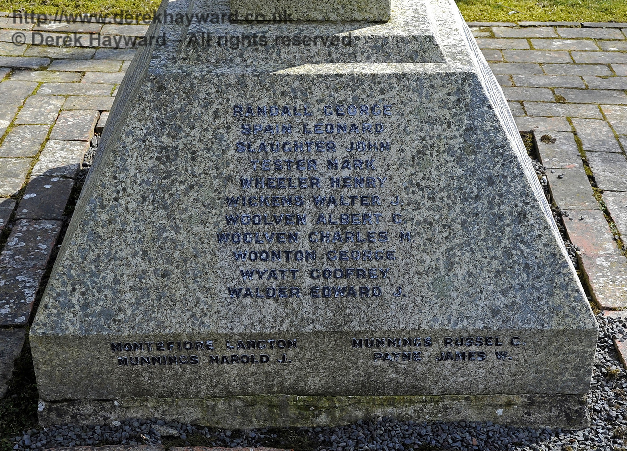 The inscriptions on the War Memorial at St Giles Church, Horsted Keynes.  <br /> Killed in the 1914 - 1918 war:<br /> Randall George<br /> Spain Leonard<br /> Slaughter John<br /> Tester Mark<br /> Wheeler Henry<br /> Wickens Walter J<br /> Woolven Albert G<br /> Woolven Charles M<br /> Woonton George<br /> Wyatt Godfrey<br /> Walder Edward J<br /> <br /> And from the 1939 - 1945 war:<br /> Montefiore Langton<br /> Munnings Harold J<br /> Munnings Russel G<br /> Payne James W<br /> <br /> 06.04.2013  6691