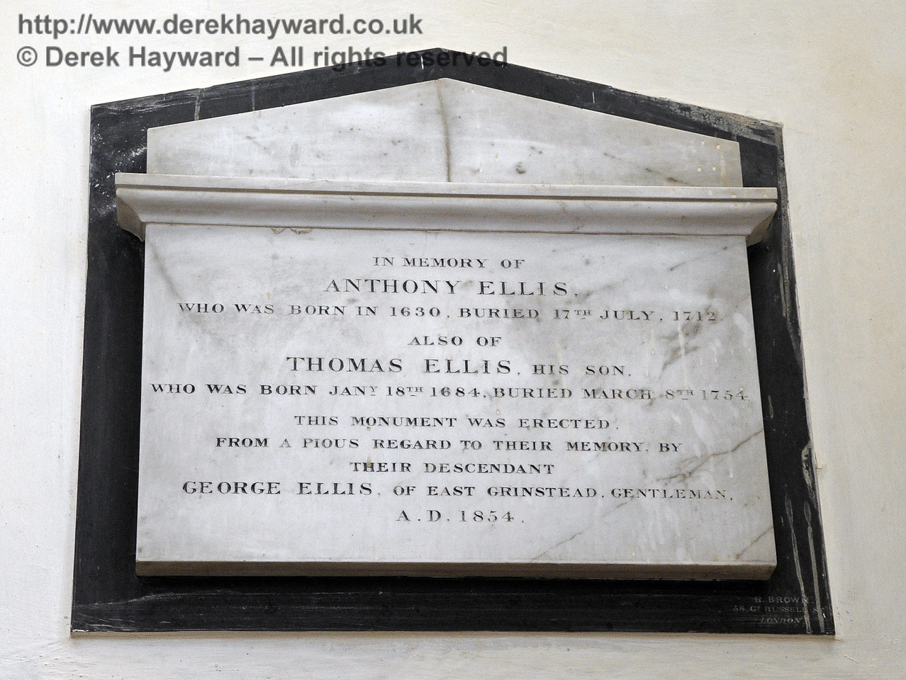 """In memory of Anthony Ellis<br /> who was born in 1630, buried 17th July 1712.<br /> Also of<br /> Thomas Ellis, his son<br /> who was born 18th January 1684, buried 8th March 1754,<br /> This monument was erected from a pious regard to their memory by their descendant<br /> George Ellis, of East Grinstead, Gentleman, AD 1854.""<br /> <br /> St Giles Church, Horsted Keynes 06.04.2013  6630"