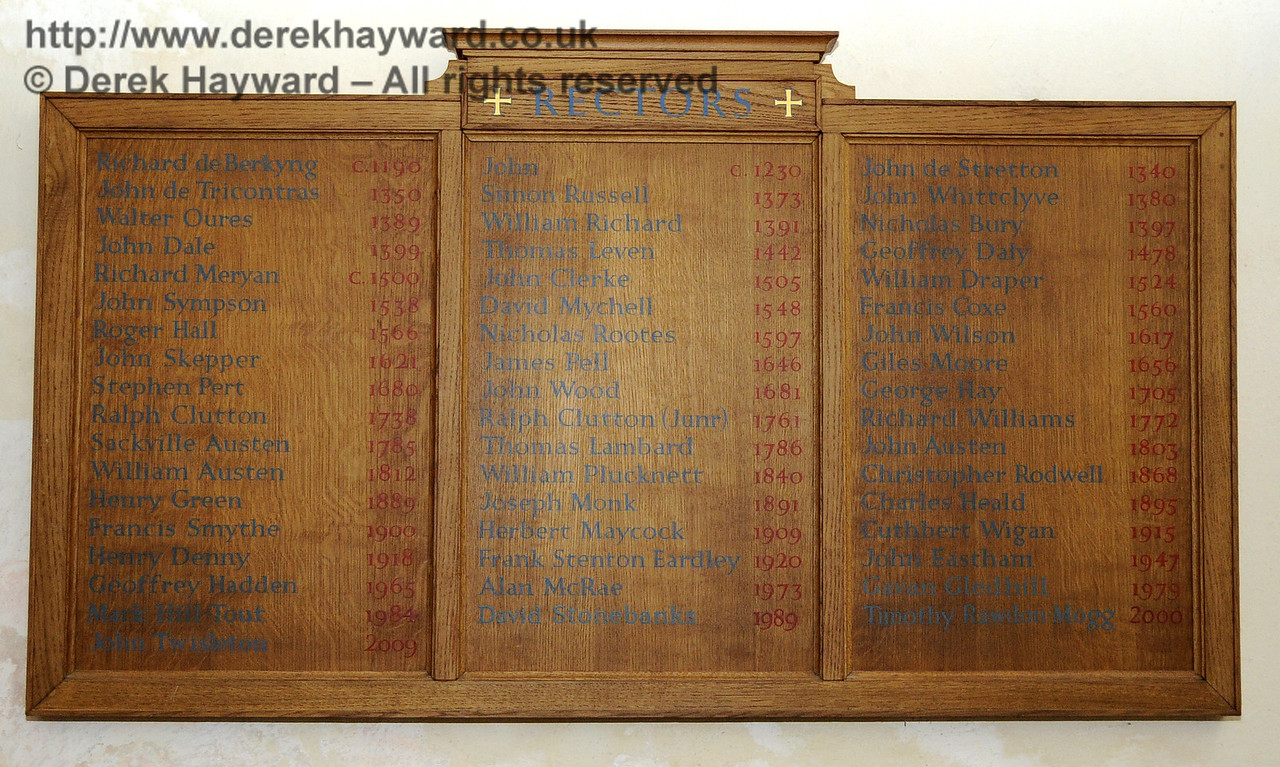 The list of Rectors inside the inner doors of the church goes back to the year 1177.  <br /> <br /> St Giles Church, Horsted Keynes 06.04.2013  6589