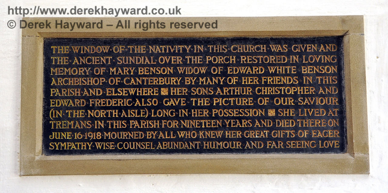 A self-explanatory memorial in the porch of St Giles Church, Horsted Keynes.  06.04.2013  6662