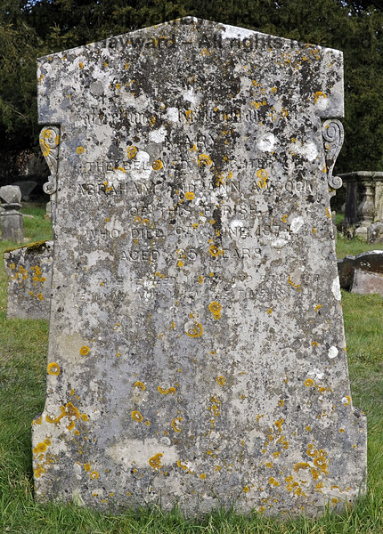 "One of the gravestones relating to the Awcock family in the churchyard:<br /> <br /> ""[Top dedication unclear, possibly ""In Loving Remembrance of""]<br /> Mary, the beloved daughter of Abraham and Ann Awcock, of this parish, who died 9th Jane 1874, aged 25 years.<br /> <br /> Take ye heed, watch and pray, <br /> for ye know not when the time is.""<br /> <br /> St Giles Church, Horsted Keynes 06.04.2013  6668"
