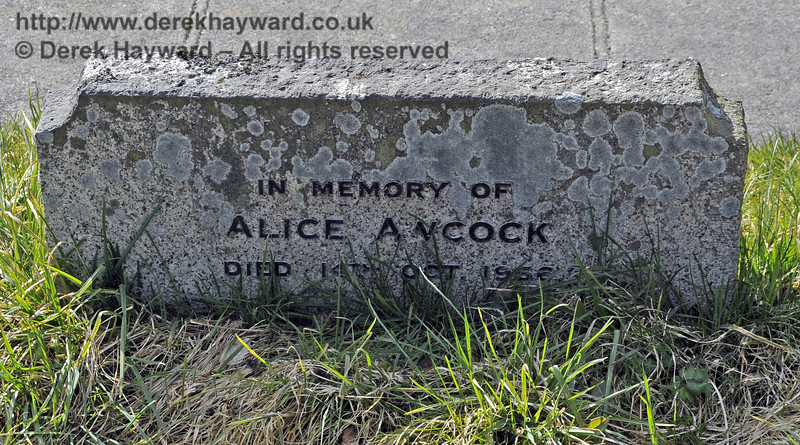 "One of the gravestones relating to the Awcock family in the churchyard:<br /> <br /> ""In memory of Alice Awcock, died 14th October 1956.""<br /> <br /> St Giles Church, Horsted Keynes 06.04.2013  6672"