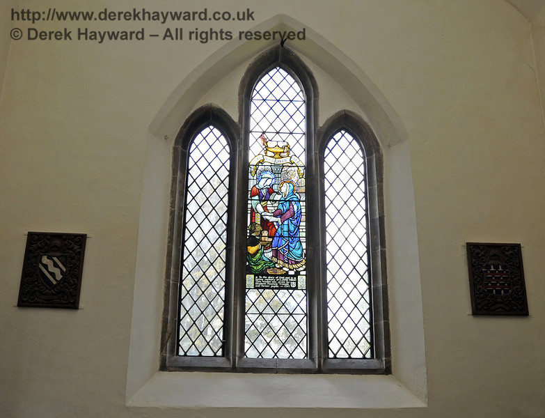To the left of the Lady Chapel altar is a memorial window in memory of E Jane Virgo, given by Elizabeth Ponsford, friends and former pupils, 1949.  See also the the next images. <br /> <br /> St Giles Church, Horsted Keynes   06.04.2013  6628