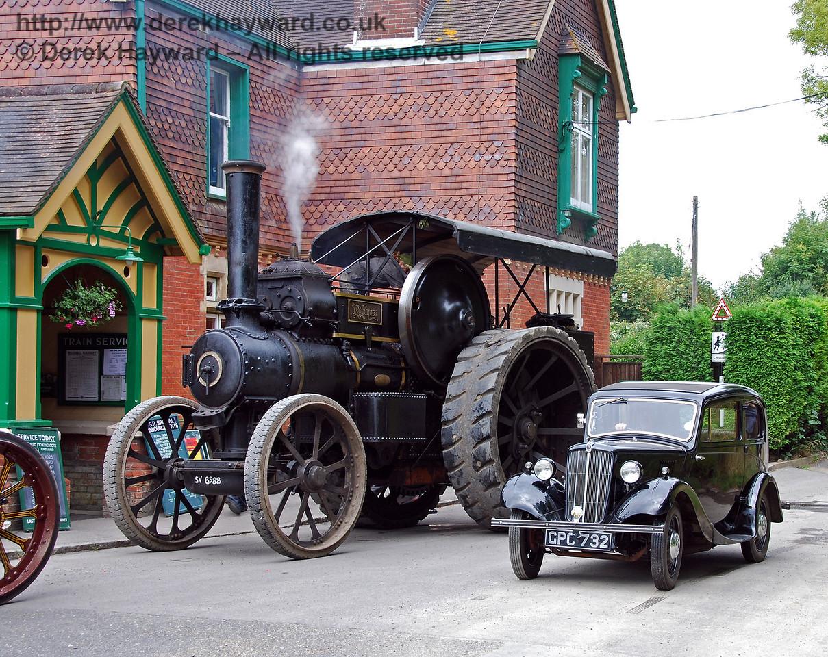 Different modes of vintage transport outside Horsted Keynes Station. 16.08.2008