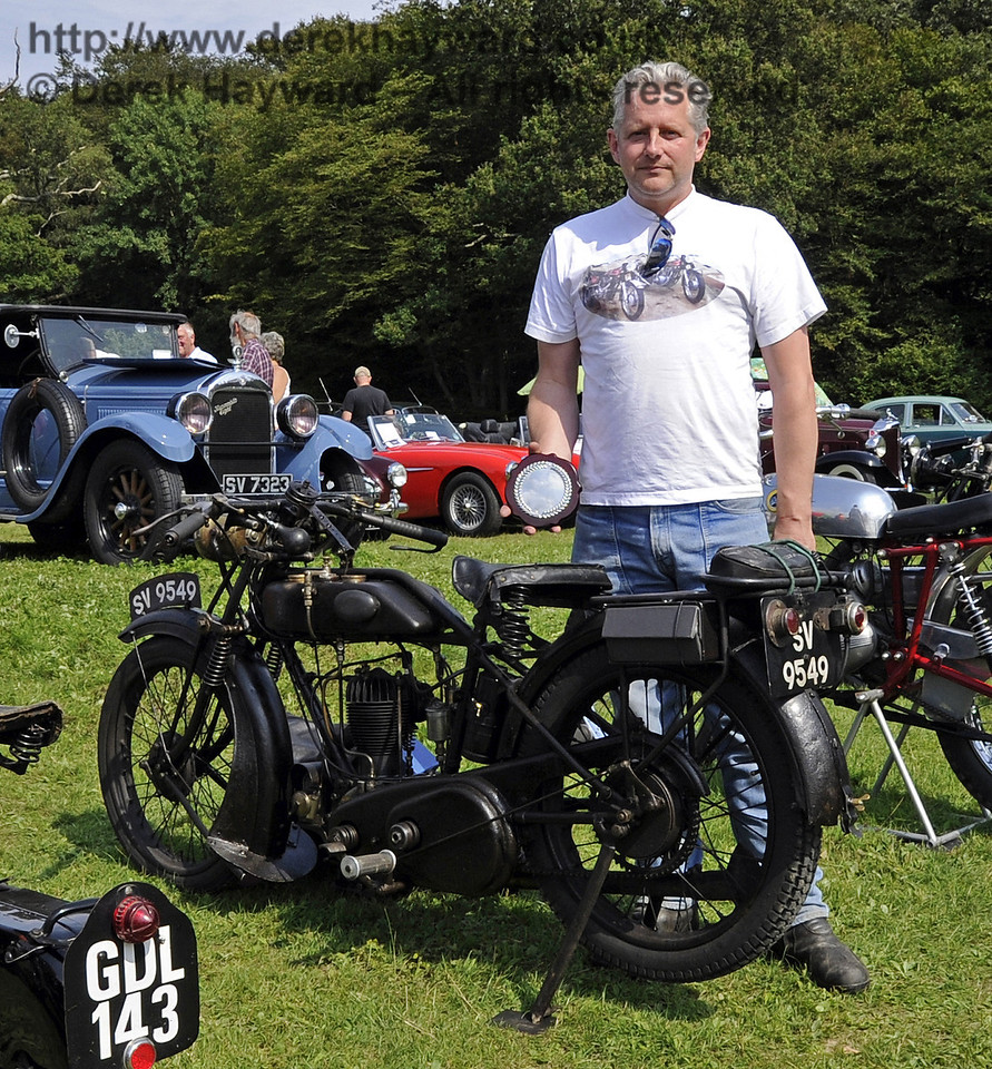 Peter Gibson won the award for best pre-1938 motor cycle with his AJS H4 350SV, SV9549.  The judges noted that it was a fine example in original condition.  Bluebell Railway Vintage Transport Weekend, Horsted Keynes, 12.08.2012  5620