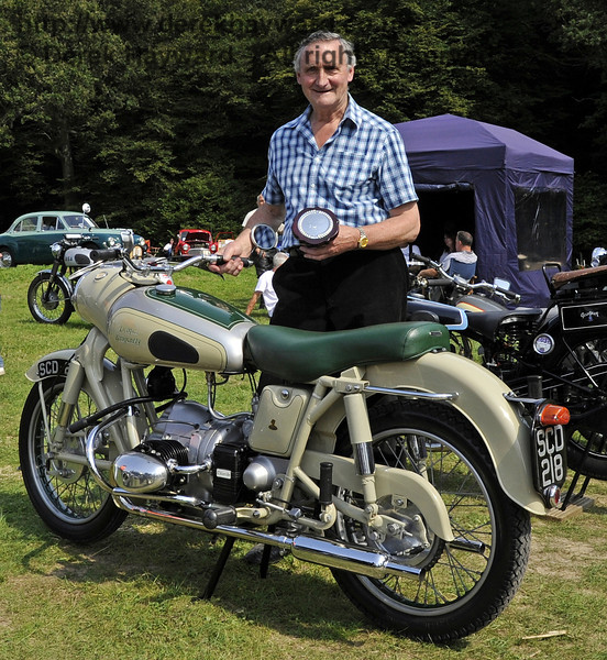Geoffrey Naughton won the award for best post-1938 motor cycle with his Douglas Dragonfly, SCD218.  The judges were much impressed with the condition of the bike.  Bluebell Railway Vintage Transport Weekend, Horsted Keynes, 12.08.2012  5626
