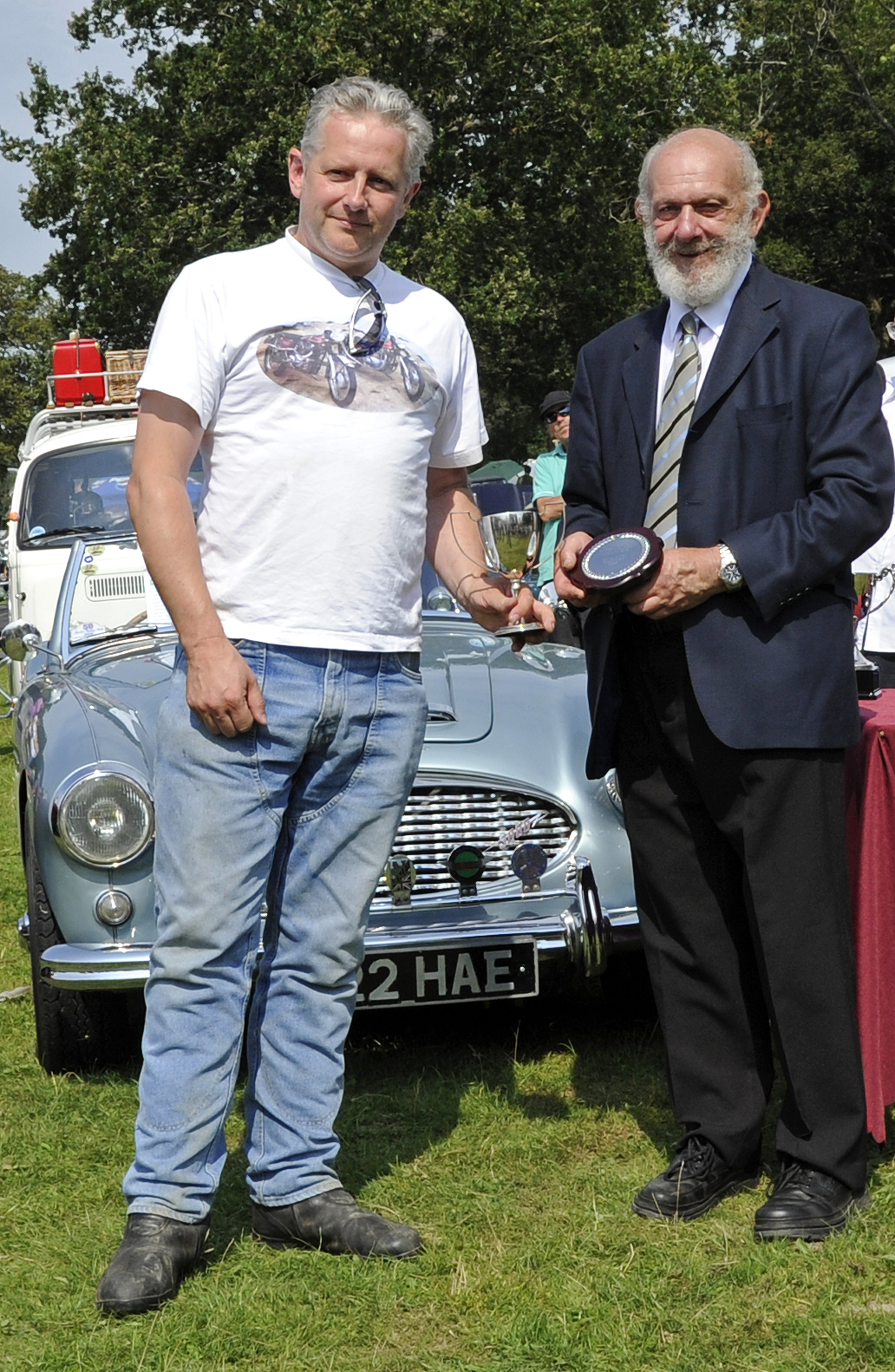 Peter Gibson won the award for best pre-1938 motor cycle with his AJS H4 350SV, SV9549.  The judges noted that it was a fine example in original condition.  Bluebell Railway Vintage Transport Weekend, Horsted Keynes, 12.08.2012  5588