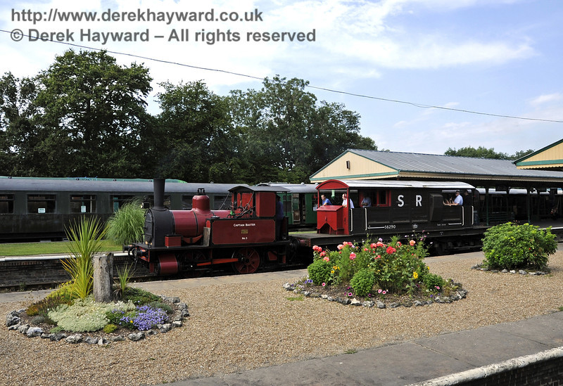 Pleasant floral displays in the foreground as Baxter gives brake van rides.  Bluebell Railway Vintage Transport Weekend, Horsted Keynes, 12.08.2012  5566