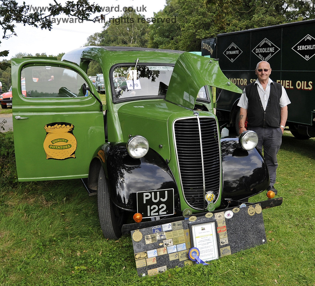 Timothy Stables received the Lewes Cup for best Commercial Vehicle, with his 1947 Fordson E83W, PUJ122.  The judges felt that Mr Stables had displayed his vehicle to a very high standard. Bluebell Railway Vintage Transport Weekend, Horsted Keynes, 12.08.2012  5638