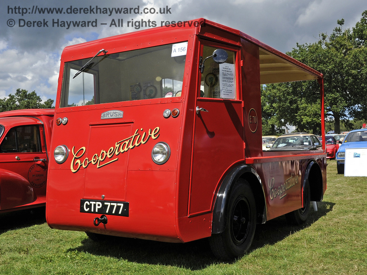 The Lewes Cup for best commercial vehicle was awarded to Peter Williams for his Brush Co-operative milk float, CTP777.  Vintage Transport Weekend, Horsted Keynes, 11.08.2013  7844