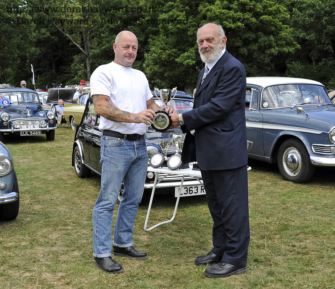 The Haywards Cup for best post war motor cycle was awarded to Steve Light for his Vincent Rapide.  Vintage Transport Weekend, Horsted Keynes, 11.08.2013  7866