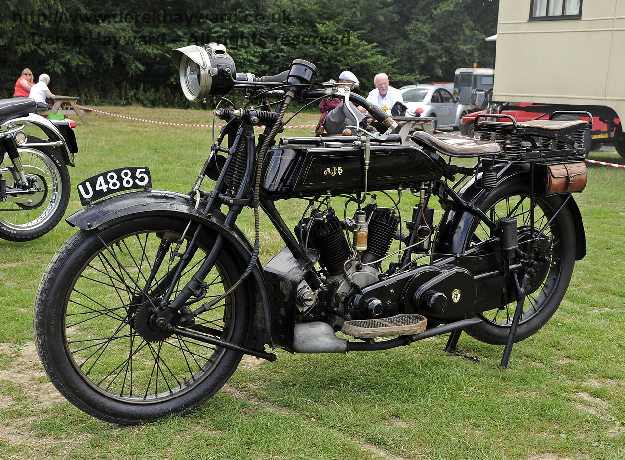The Horsted Cup for best pre war motor cycle was awarded to Steve Elston for his 1919 AJS Model D, U4885.  Vintage Transport Weekend, Horsted Keynes, 10.08.2013  7733