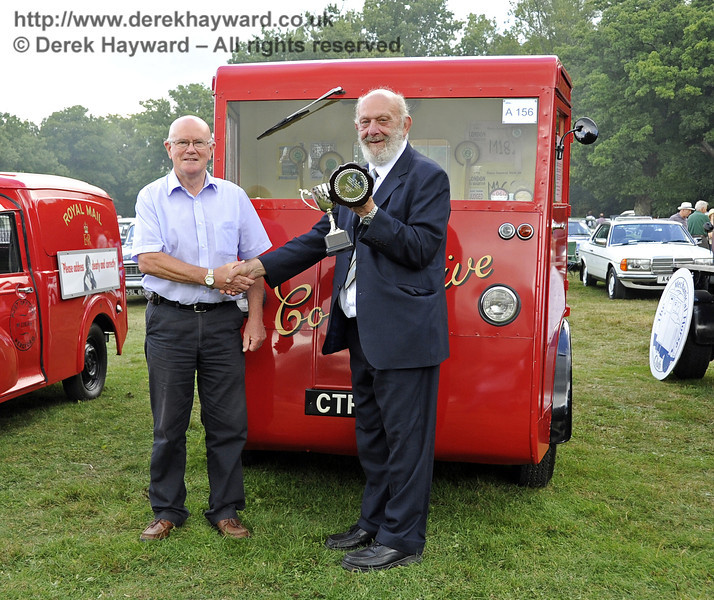 The Lewes Cup for best commercial vehicle was awarded to Peter Williams for his Brush Co-operative milk float, CTP777.  Vintage Transport Weekend, Horsted Keynes, 11.08.2013  7878