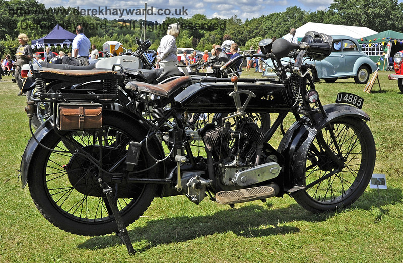 The Horsted Cup for best pre war motor cycle was awarded to Steve Elston for his 1919 AJS Model D, U4885.   Vintage Transport Weekend, Horsted Keynes, 11.08.2013  7848