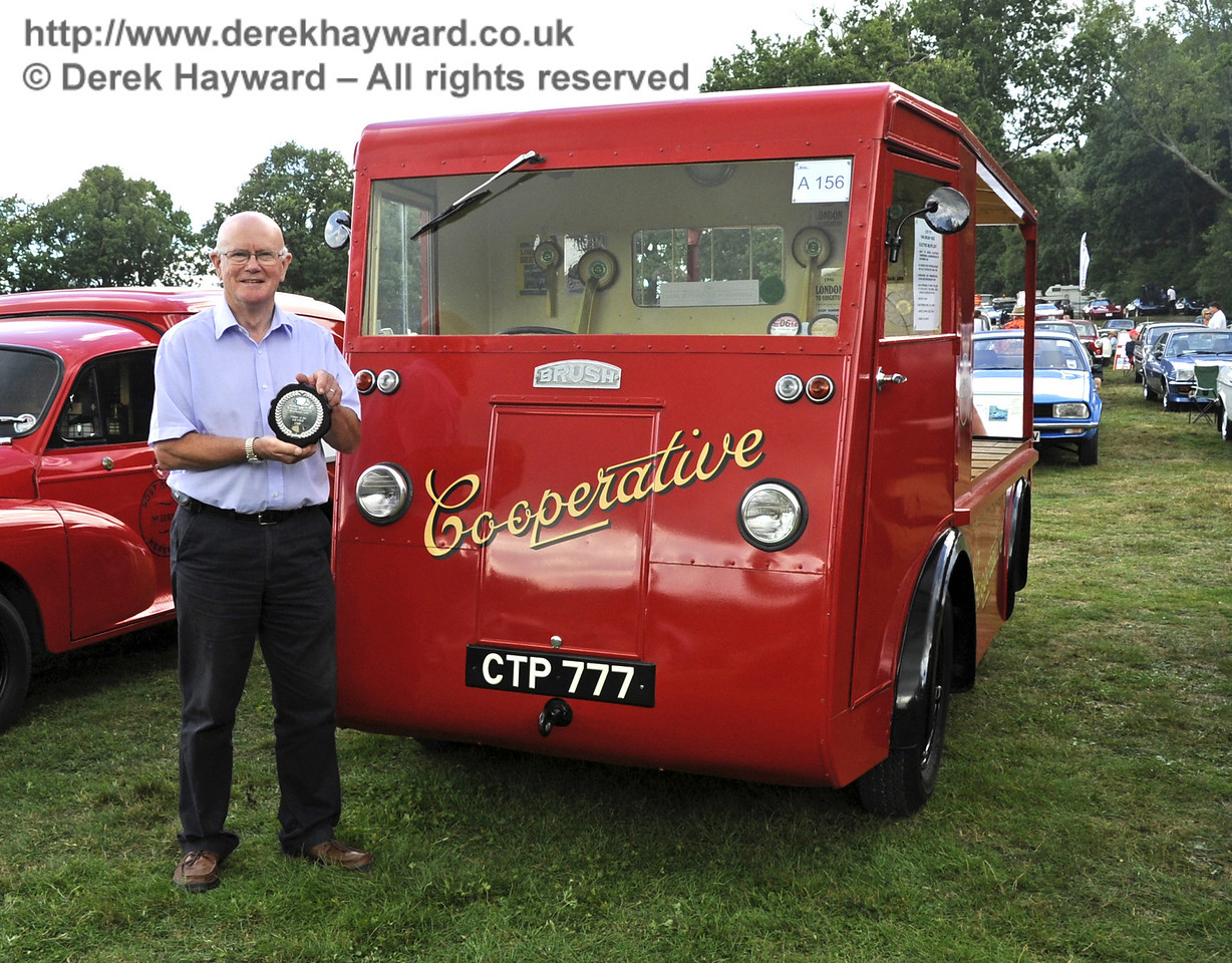 The Lewes Cup for best commercial vehicle was awarded to Peter Williams for his Brush Co-operative milk float, CTP777.  Vintage Transport Weekend, Horsted Keynes, 11.08.2013  7883