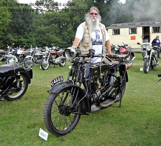 The Horsted Cup for best pre war motor cycle was awarded to Steve Elston for his 1919 AJS Model D, U4885.  Vintage Transport Weekend, Horsted Keynes, 11.08.2013  7890