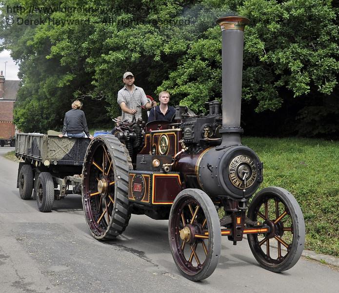 Burrell road locomotive 'Lion' transporting coal for the traction engines.  Vintage Transport Weekend, Horsted Keynes, 10.08.2013  7695