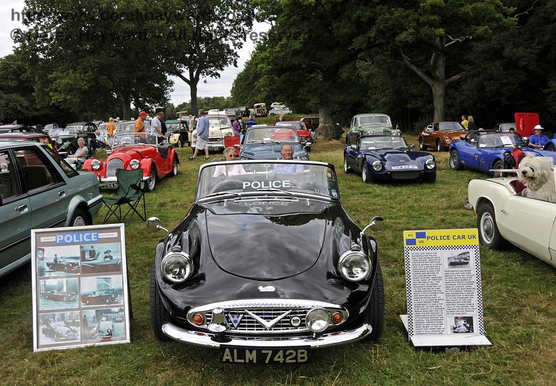 Metropolitan Police Daimler SP250 Dart, ALM742B, dating from 1964 and now preserved.  Vintage Transport Weekend, Horsted Keynes, 10.08.2013  9641