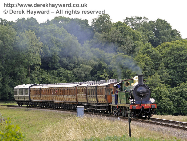 263 approaches New Road Bridge with the Victorian coaches.  Vintage Transport Weekend, Horsted Keynes, 10.08.2013  7759