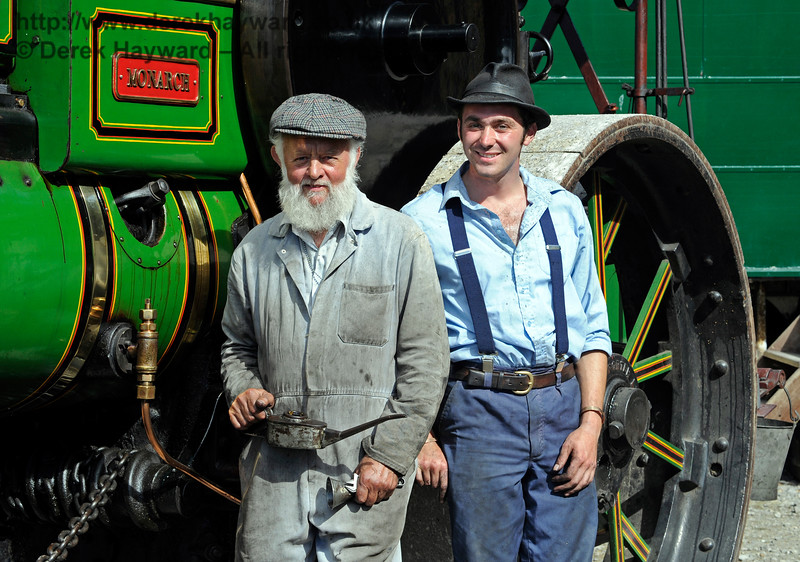 The award for Best Steam Road Engine went to the AP Monach, HJ1732.  Posing with their engine are Roy Miles (left) and Oliver Warburton (right).  Vintage Transport Weekend, Horsted Keynes.  09.08.2015   11894