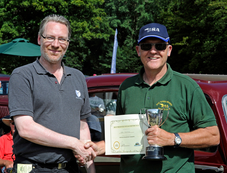 The award for best Post-1947 Motor Cycle went to Derek Ansell (right) for his BSA, 755JCG.  Vintage Transport Weekend, Horsted Keynes.  09.08.2015  11861