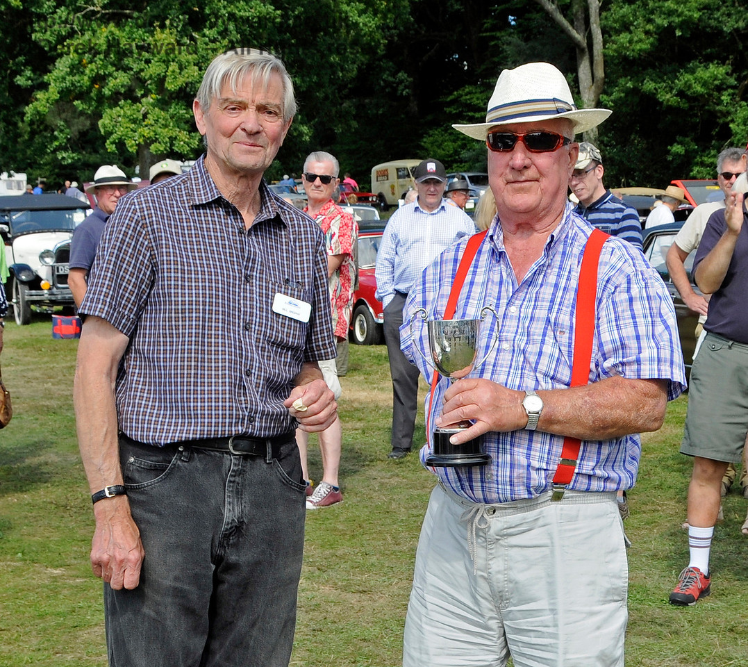 Best in Show was an Austin A40, LUF923, owned by George Jeary.  Prizes were presented by Bill Brophy,  Bluebell Railway Vice President.  Vintage Transport Weekend, Horsted Keynes, 14.08.2016  16239
