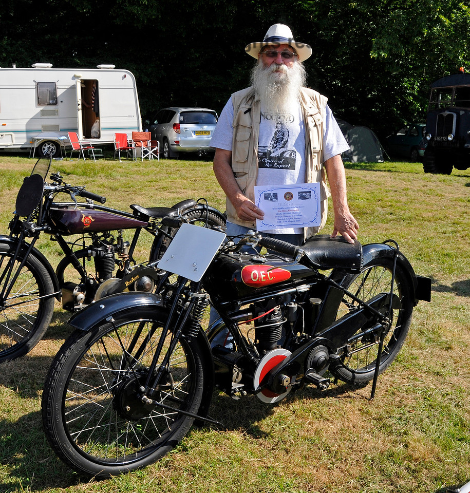 Highly Commended in the Pre-War Motor Cycle category was an OEC, PP5220, owned by Steven Elston.  Vintage Transport Weekend, Horsted Keynes, 14.08.2016  16252