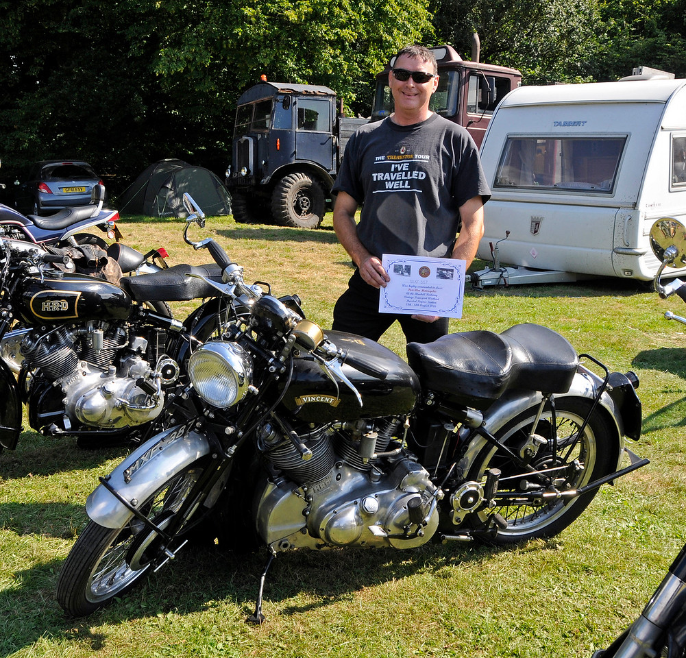Highly Commended in the Post-War Motor Cycle category was HRD Vincent, MXF387, owned by Malcolm Fry. Vintage Transport Weekend, Horsted Keynes, 14.08.2016  16246