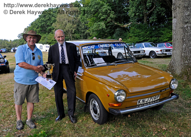 Best Post-War Car was a Daf, KNJ719P.  It's owner, John Smith, was unfortunately not available for the presentation but received his trophy later from Steve Everest.  Vintage Transport Weekend, Horsted Keynes, 14.08.2016  16258