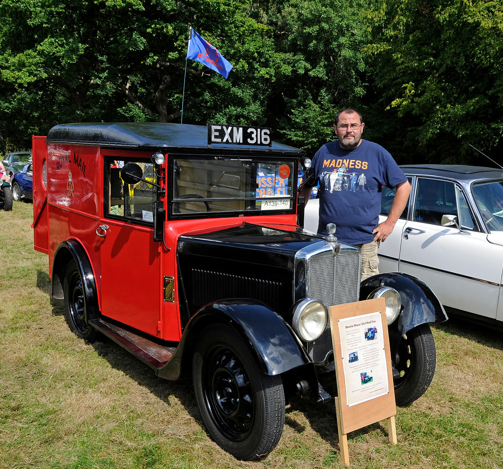 Best Commercial Vehicle was a Morris Minor 35CF Mail Van, EXM316, owned by Simon Grainger.  Vintage Transport Weekend, Horsted Keynes, 14.08.2016  16192  A number of equally praiseworthy commercial vehicles appeared on the Saturday, but were not available for judging on Sunday.