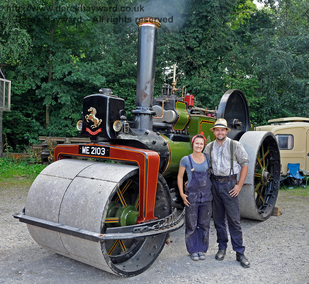 Highly Commended in the Steam Powered Vehicle category was an Aveling & Porter Road Roller, ME2103, owned by Matt and Lucy Webber.  Milly, the dog, hiding behind the front wheel, was camera shy..!! Vintage Transport Weekend, Horsted Keynes, 14.08.2016  16189