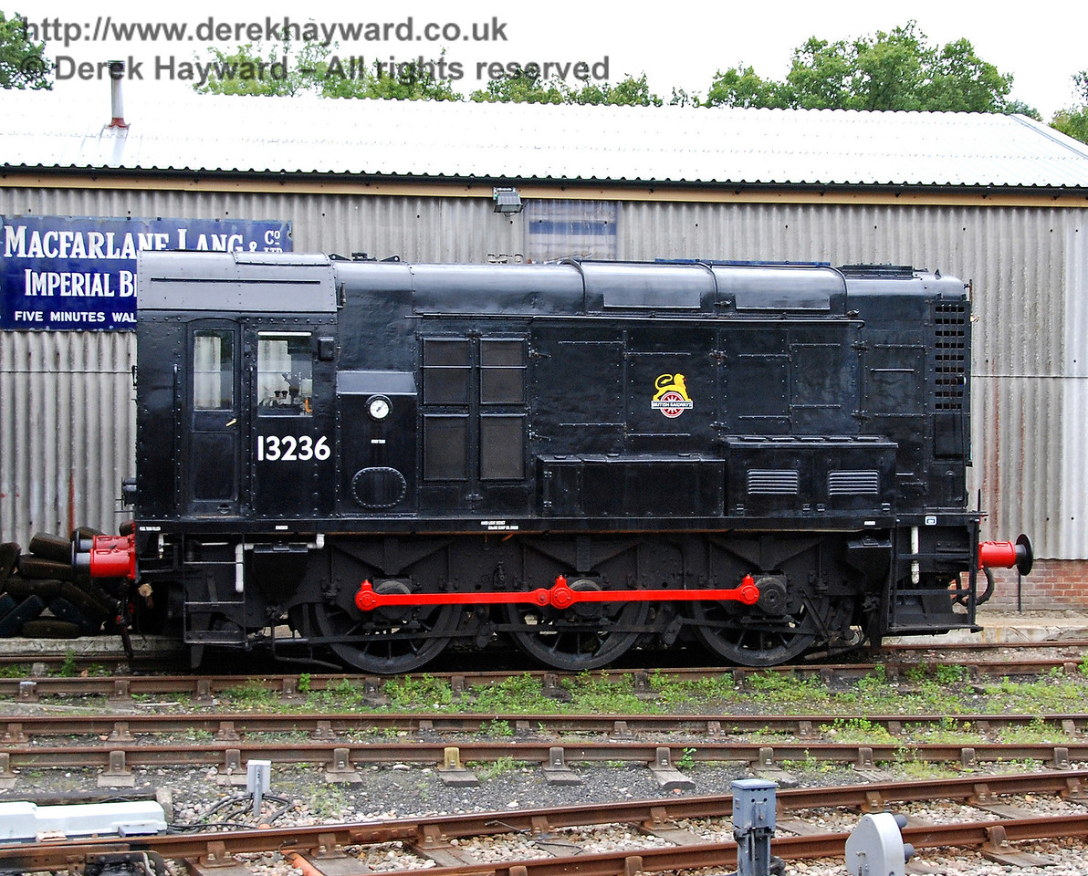 13236 is useful to meet requirements for prompt shunting in the Carriage and Wagon Works, and is seen here adjacent to the works at Horsted Keynes. 15.08.2009