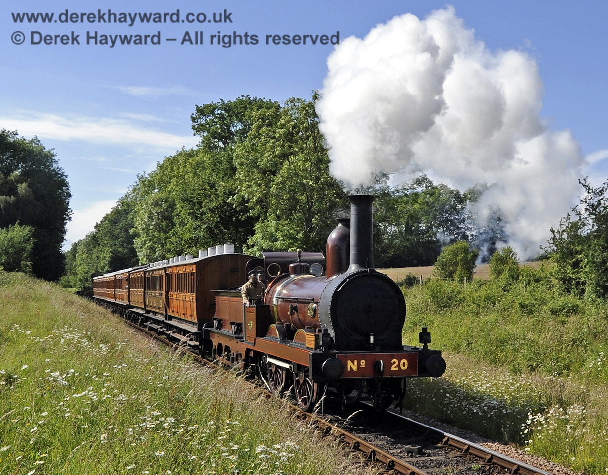 Furness Railway No.20 hauling empty stock from a private filming charter at Ketches Halt. 19.06.2012  5211