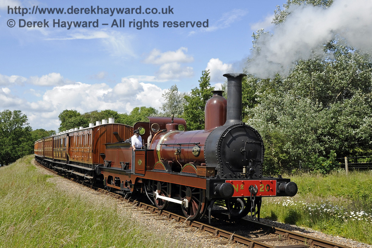 Furness Railway No.20 hauling empty stock from a private filming charter at Freshfield. 19.06.2012  5163