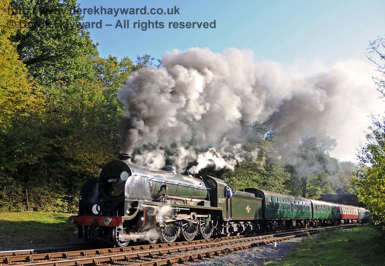 30777 Sir Lamiel steams north from Leamland Bridge.  10.10.2010  5108