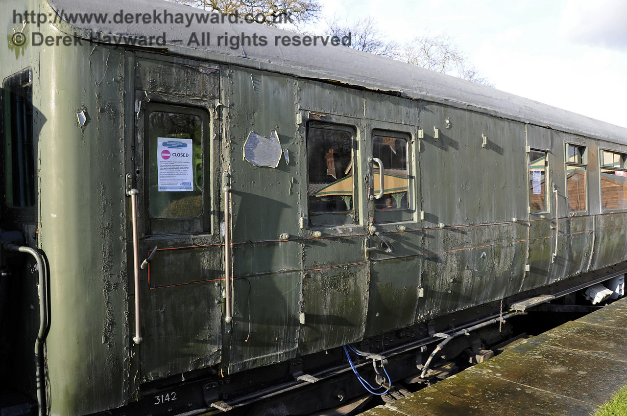 Motor coach 11201 from 4-COR 3142 at Horsted Keynes on 21.12.2012 in a rather tired condition.  6031