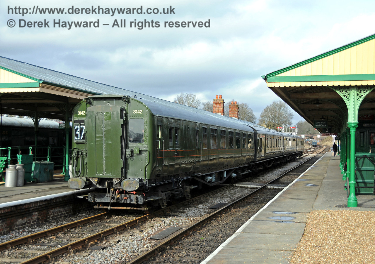 Motor coach 11201 from 4-COR 3142 is posed at Horsted Keynes bearing headcode number 37. 27.02.2010