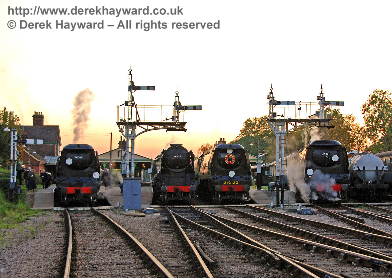 The Bulleids line up as the sun goes down at Horsted Keynes 19.10.2007