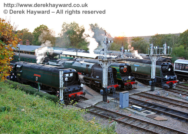 The Bulleids line up at Horsted Keynes. 19.10.2007