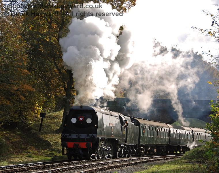 34007 Wadebridge steams north at Leamland Bridge.  04.11.2007