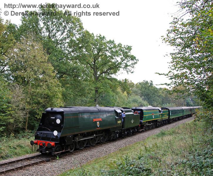 34007 Wadebridge and 21C123 OVS Bulleid approach Birchstone Bridge. 20.10.2007