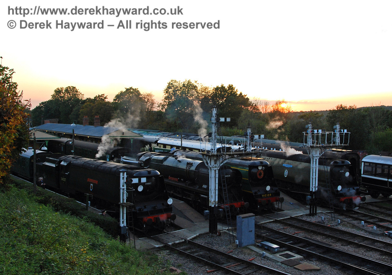 The sun sets on the Bulleid line up. Horsted Keynes 19.10.2007