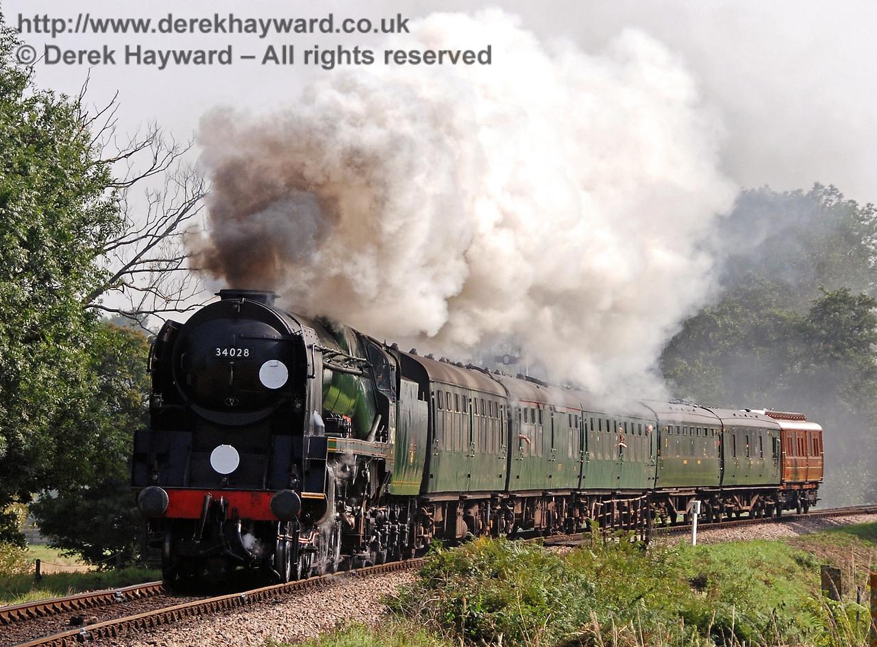 34028 Eddystone steams north towards Ketches Halt. 08.09.2007