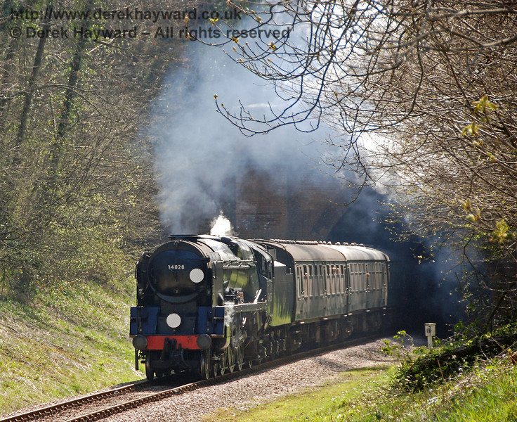 34028 Eddystone emerges from West Hoathly tunnel.  08.04.2007