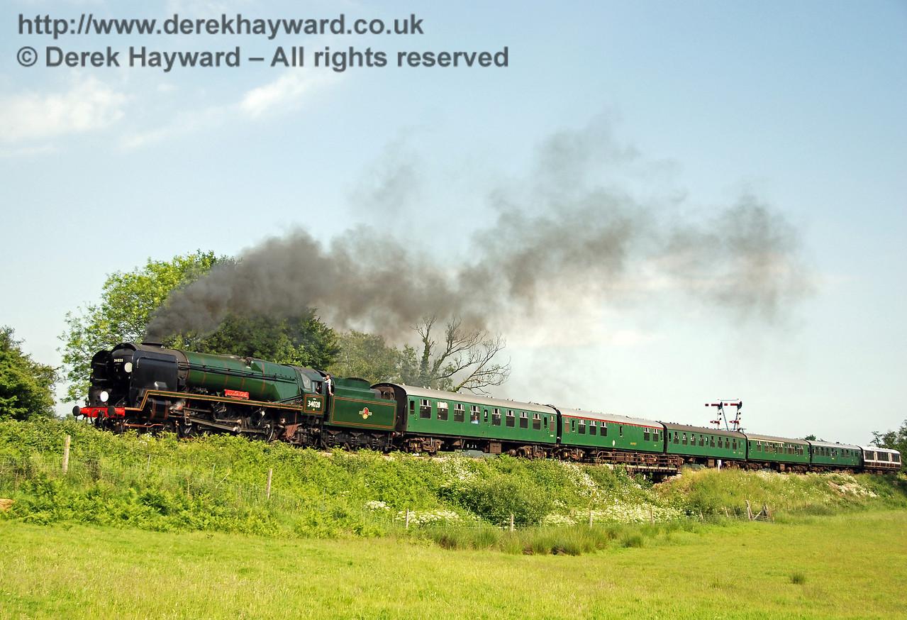 34028 Eddystone steams away from Sheffield Park. 02.06.2007